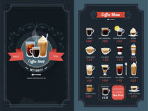Coffee menu with different types. Cappuccino, macchiato, latte and others. Cappuccino and latte, coffee cup espresso and americano. Vector illustration Royalty Free Stock Photo