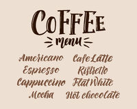 Coffee Menu. Hand lettering Vector Illustration. Vector elements for coffee shop, market, cafe design, restaurant menu and recipes Royalty Free Stock Photography