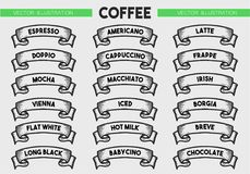 Coffee menu icon set. Beverages types of coffee. Vector engraving ribbons illustration isolated on brown background. Hand drawn design label Royalty Free Stock Image