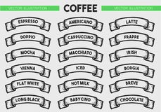 Coffee menu icon set. Beverages types of coffee. Vector engraving ribbons illustration isolated on brown background. Hand drawn design label Royalty Free Stock Photography