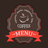 Coffee menu label  design template in retro style Stock Image