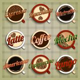 Coffee menu labels set. With espresso macchiato ristretto latte mocha americano cappuccino lungo isolated vector illustration Royalty Free Stock Photo