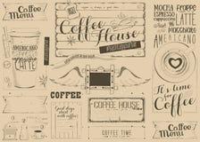 Coffee Menu Placemat Stock Image