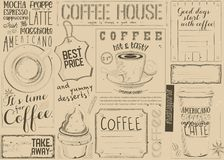 Coffee Menu Placemat Stock Images
