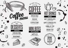 Coffee menu placemat food restaurant brochure and cafe template design. Stock Images