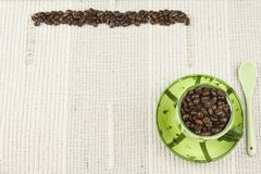 Coffee menu, preparing drinks are, coffee on a white tablecloth with cup Stock Photos