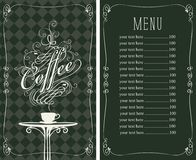 Coffee menu with a price list and Cup of coffee Royalty Free Stock Photos