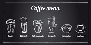 Coffee menu set. Hand drawn vector sketch of different types of coffee on blackboard background vector illustration