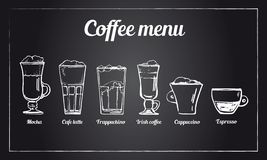Coffee menu set. Hand drawn vector sketch of different types of coffee drinks on blackboard background vector illustration
