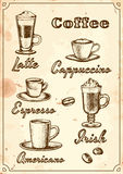 Coffee Menu. Set of hand-painted five kinds of coffee Stock Photo