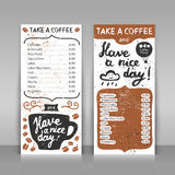 Coffee menu. Coffee menu set. 2 paper cards on gray background. Hand drawn design with lettering. Take a coffee and have a nice day! Vector template Royalty Free Stock Photo