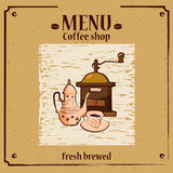 Coffee menu template for coffee shop with coffee grinder, coffee pot, cup vector illustration