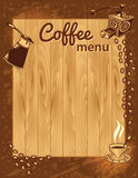 Coffee Menu Template. Vector wooden background Royalty Free Stock Photography