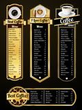 Coffee menu templates Royalty Free Stock Image