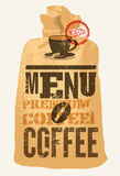 Coffee menu. Typographic retro poster for restaurant, cafe or coffeehouse. Vector illustration. Royalty Free Stock Photography