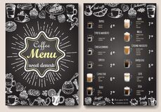 Coffee menu vector template. Front and back sides A4 paper format coffee menu price list on chalkboard.