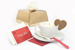 Coffee with message. And gift Stock Image