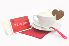 Coffee with message. And cake Royalty Free Stock Images