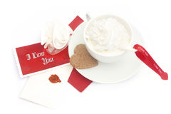 Coffee with message. And cake Royalty Free Stock Image