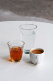 Coffee, Metaxa, Water Royalty Free Stock Photos