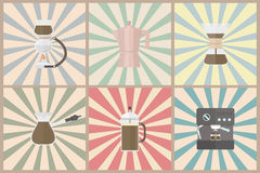 Coffee methods. Set of coffee methods, pastel style Royalty Free Stock Image