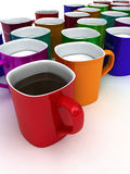Coffee and milk. Cups of coffee and milk. 3d Royalty Free Stock Images