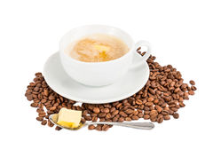 Coffee with milk and added butter.  royalty free stock photography