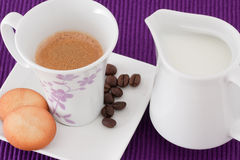 Coffee, Milk And Biscuits Stock Photos