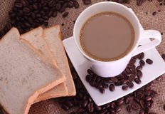 Coffee milk and beans Stock Image