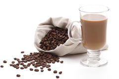 Coffee with milk and beans Stock Image