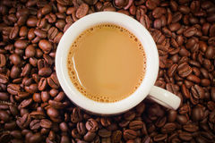 Coffee milk and beans Royalty Free Stock Image