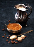 Coffee with milk.  black vintage background Stock Photography