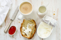 Coffee with milk, bread Royalty Free Stock Images