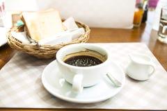 Coffee milk and breakfast. Continental breakfast with milk coffee orange juice and brioche Royalty Free Stock Photo