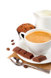 Coffee with milk and cake Royalty Free Stock Photography