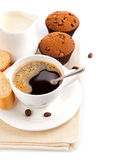 Coffee with milk and cake Royalty Free Stock Photo