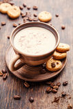 Coffee with milk. And cinnamon. Food background Stock Photos