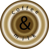 Coffee and milk. Circle sign of coffee with milk Stock Images