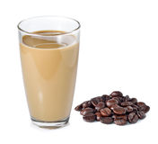 Coffee milk and coffee beans Stock Photos
