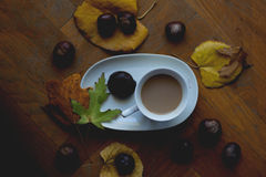 Coffee with milk for cold autumn days Royalty Free Stock Image