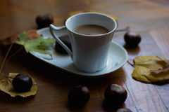 Coffee with milk for cold autumn days Stock Image