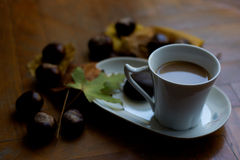 Coffee with milk for cold autumn days Stock Photo