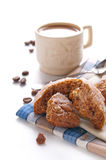 Coffee with milk and cookie Royalty Free Stock Photography