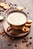 Coffee with milk. And cookies. Food background Stock Images