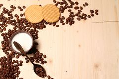 Coffee and cookies with milk Stock Photo