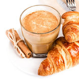 Coffee with milk and Croissants on white plate and linen napkin Royalty Free Stock Photo