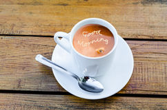 Coffee with milk froth font motif Stock Photo