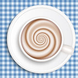 Coffee with milk, full cup, top view, vector. Stock Photography