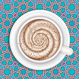 Coffee with milk, full cup, top view, vector. Royalty Free Stock Photo