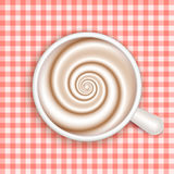 Coffee with milk, full cup, top view, vector. Royalty Free Stock Photos